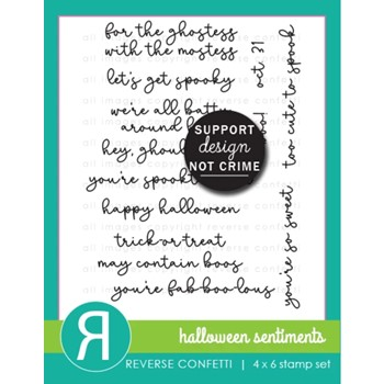Reverse Confetti HALLOWEEN SENTIMENTS Clear Stamps