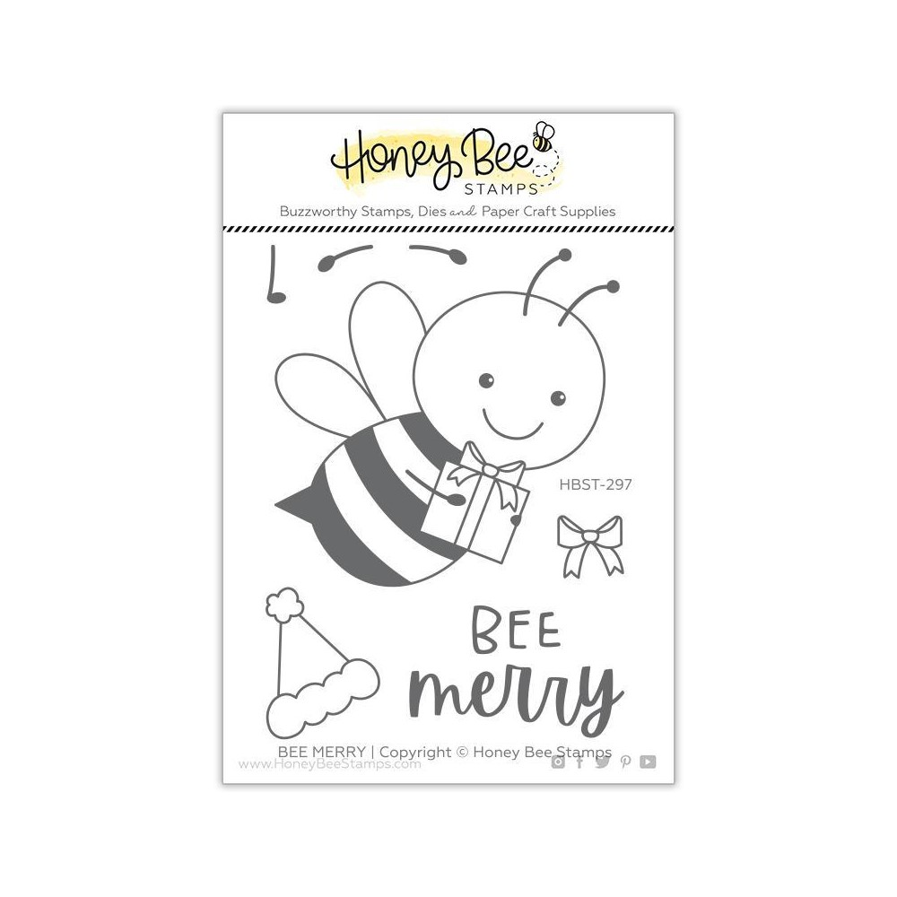 Honey Bee MERRY Clear Stamp Set hbst297 zoom image