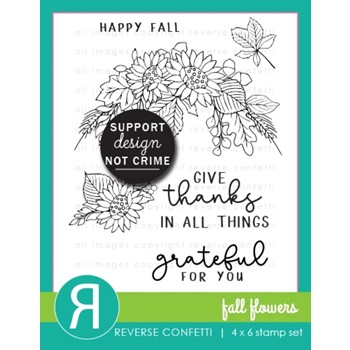 Reverse Confetti FALL FLOWERS Clear Stamps