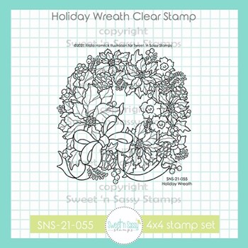 Sweet 'N Sassy HOLIDAY WREATH Clear Stamp Set sns21055