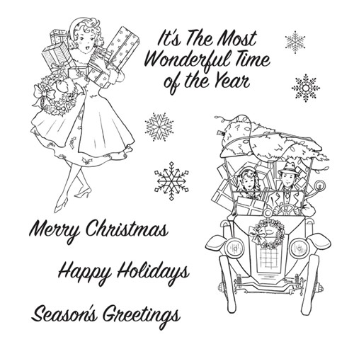 STP-046 Spellbinders VINTAGE HOLIDAY Clear Stamps Preview Image
