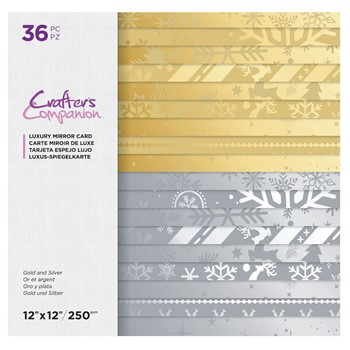 Crafter's Companion GOLD AND SILVER 12 x 12 Mirror Paper Pad cclmc12gosi36