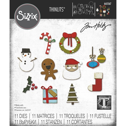 Tim Holtz Sizzix CHRISTMAS MINIS Thinlits Dies 665567 Preview Image