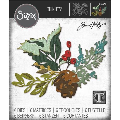 Tim Holtz Sizzix HOLIDAY BRUSHSTROKE 2 Thinlits Dies 665578 Preview Image