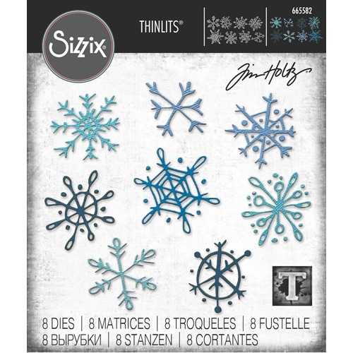 Tim Holtz Sizzix SCRIBBLY SNOWFLAKES Thinlits Dies 665582 Preview Image