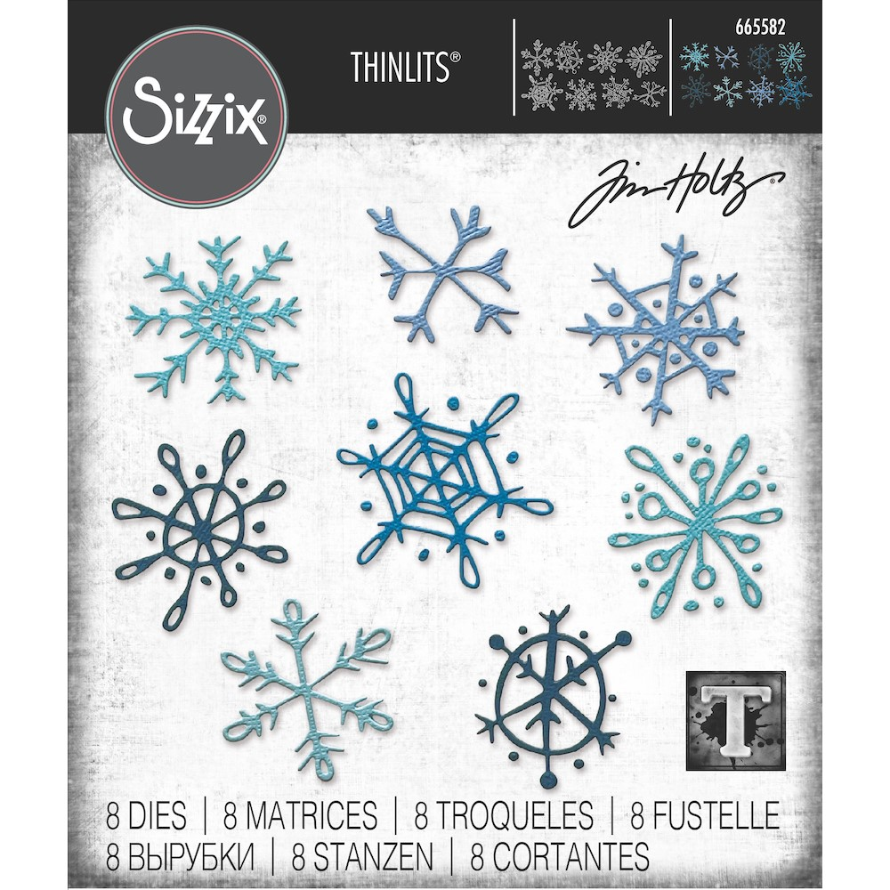 Tim Holtz Sizzix SCRIBBLY SNOWFLAKES Thinlits Dies 665582 zoom image