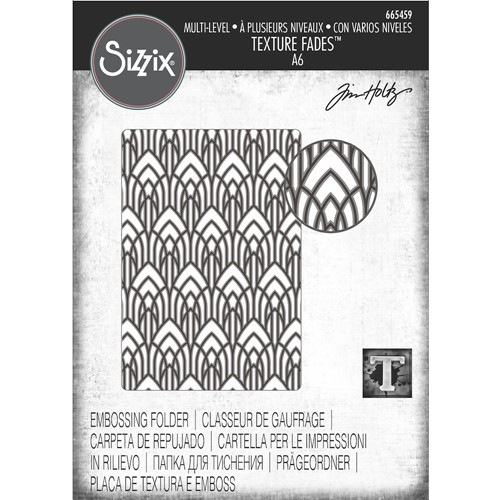 Tim Holtz Sizzix ARCHED Multi-Level Texture Fades Embossing Folder 665459 Preview Image