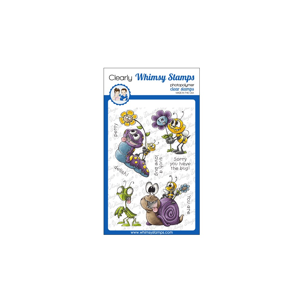 Whimsy Stamps LOVE BUGGIES Clear Stamps DP1076 zoom image
