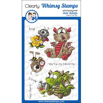 Whimsy Stamps GARDEN DRAGONS Clear Stamps DP1075