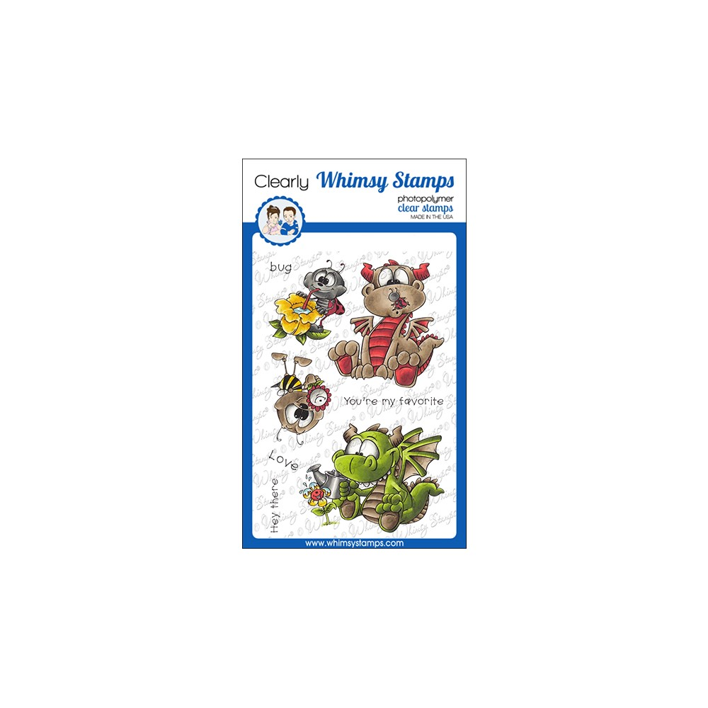 Whimsy Stamps GARDEN DRAGONS Clear Stamps DP1075 zoom image