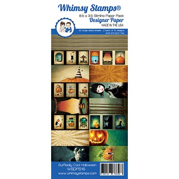 Whimsy Stamps SLIMLINE SUREALLY COOL HALLOWEEN 8.5 x 3.5 Paper Pack WSDPS15