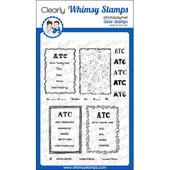 Whimsy Stamps ATC FRAMES AND SIGNATURES Clear Stamps CWSD389