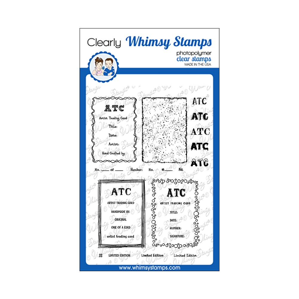 Whimsy Stamps ATC FRAMES AND SIGNATURES Clear Stamps CWSD389 zoom image