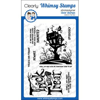 Whimsy Stamps TRICK OR TREAT HOUSE Clear Stamps CWSD282a