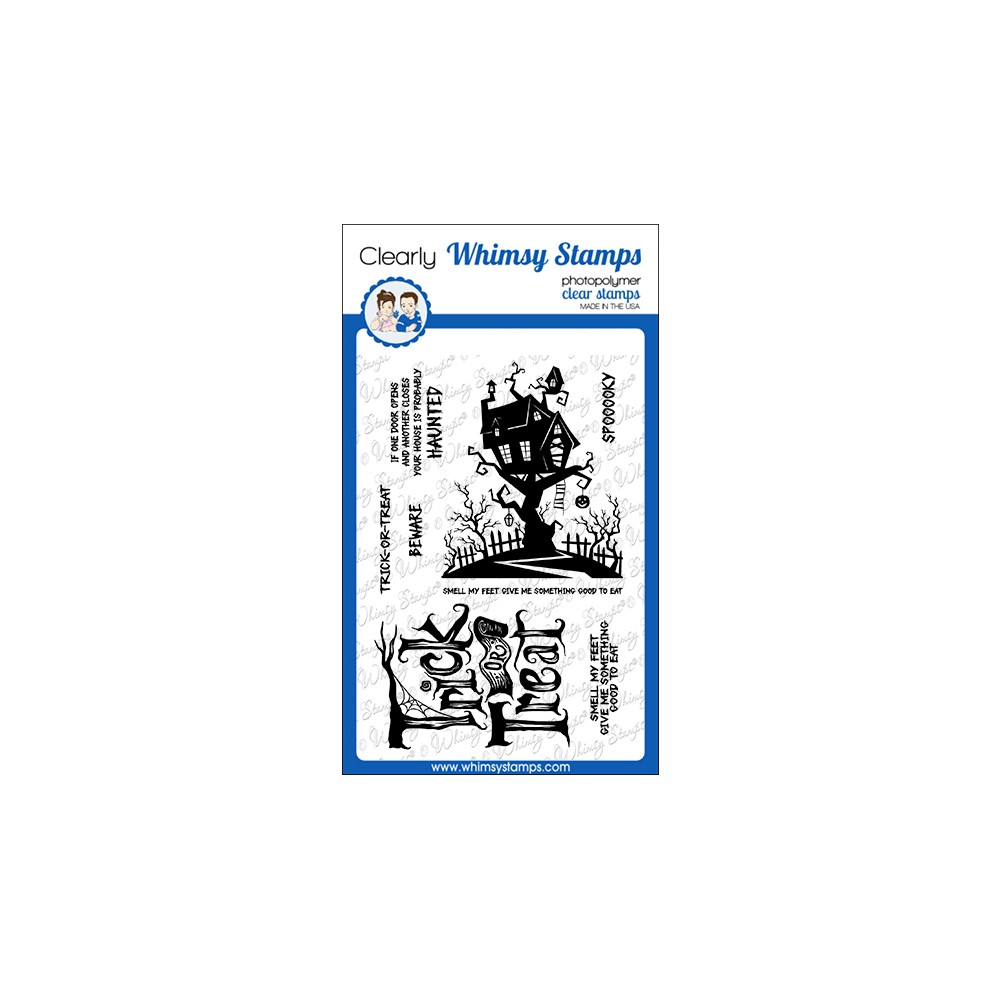 Whimsy Stamps TRICK OR TREAT HOUSE Clear Stamps CWSD282a zoom image