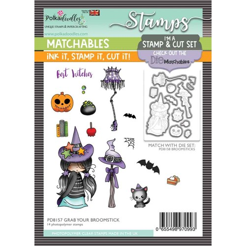 Polkadoodles GRAB YOUR BROOMSTICK Matchables Clear Stamps pd8157 Preview Image