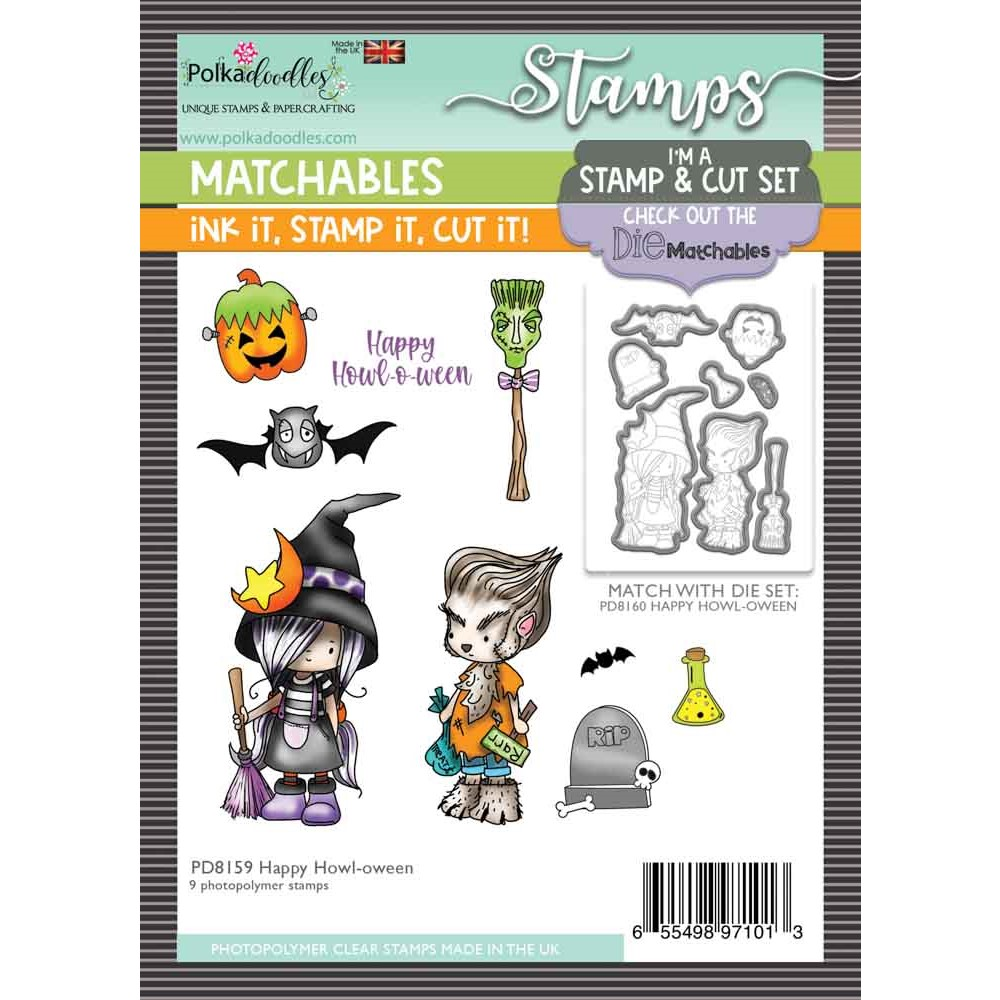 Polkadoodles HAPPY HOWL-O-WEEN Matchables Clear Stamps pd8159 zoom image