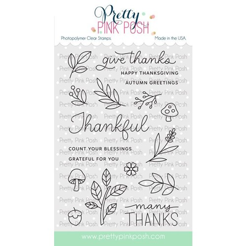 Pretty Pink Posh WOODLAND THANKS Clear Stamps Preview Image
