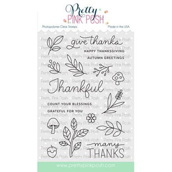 Pretty Pink Posh WOODLAND THANKS Clear Stamps
