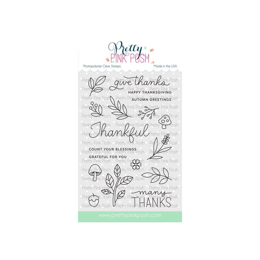 Pretty Pink Posh WOODLAND THANKS Clear Stamps zoom image