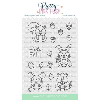 Pretty Pink Posh COZY FALL CRITTERS Clear Stamps