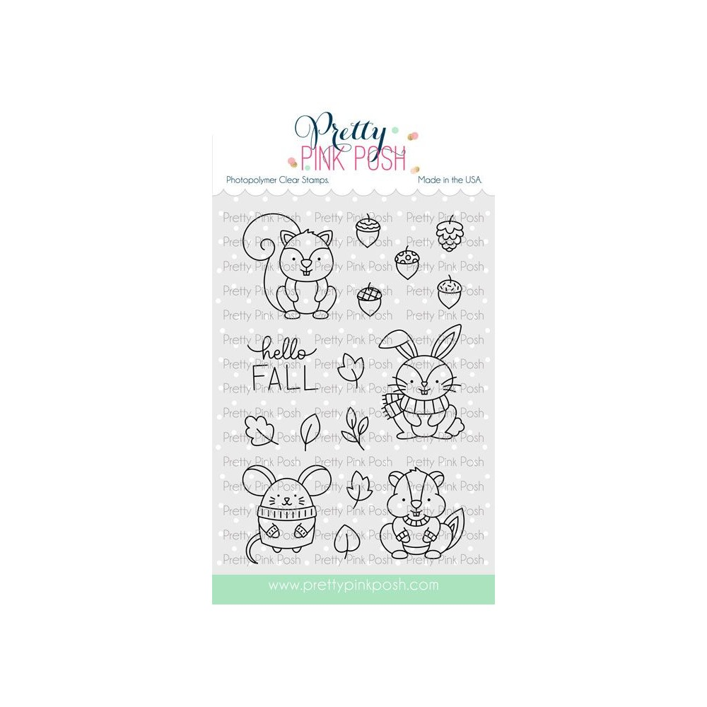 Pretty Pink Posh COZY FALL CRITTERS Clear Stamps zoom image