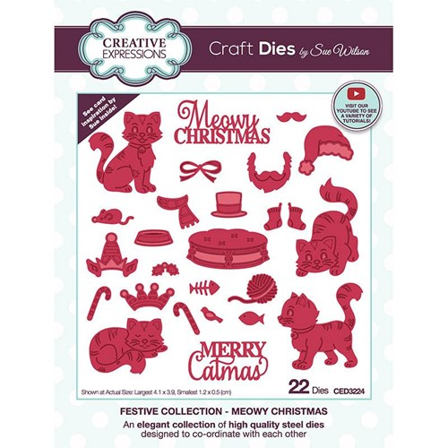 Creative Expressions MEOWY CHRISTMAS Sue Wilson Festive Collection Dies ced3224 Preview Image