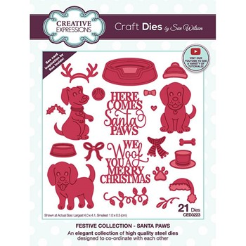 Creative Expressions SANTA PAWS Sue Wilson Festive Collection Dies ced3223