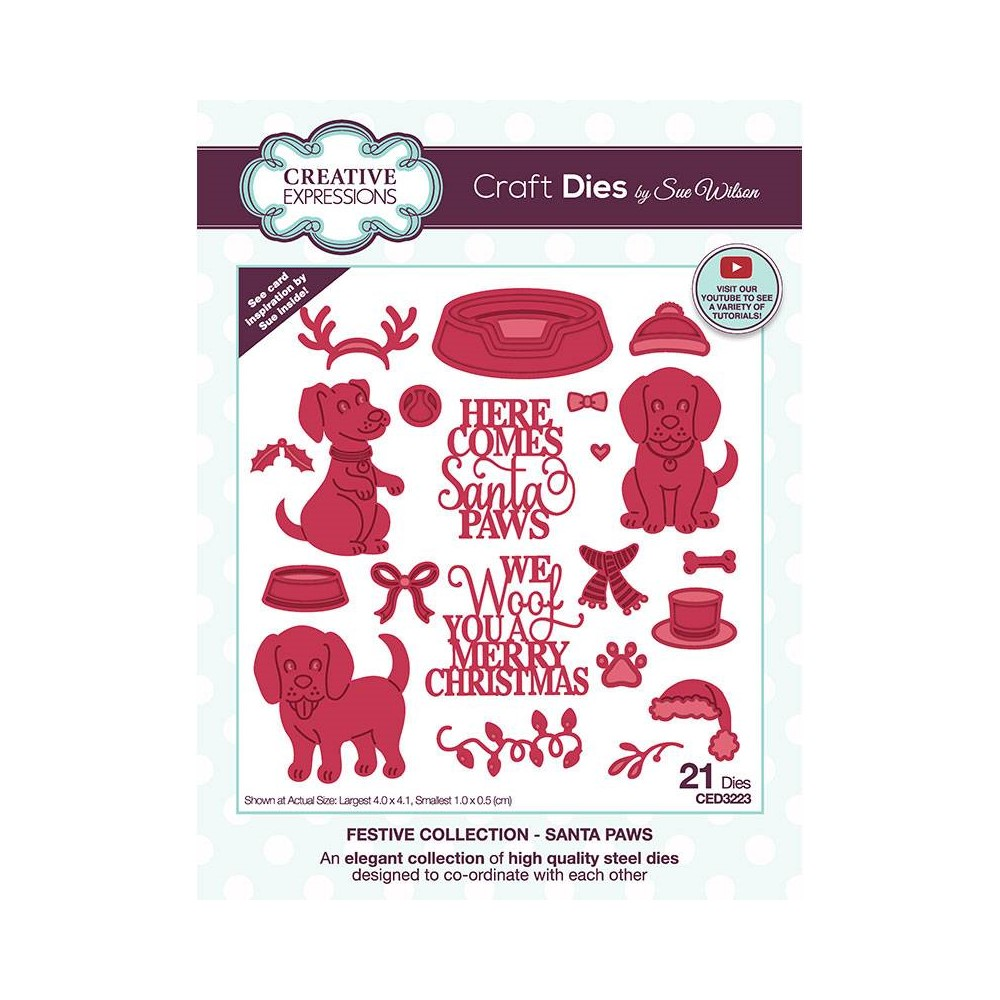 Creative Expressions SANTA PAWS Sue Wilson Festive Collection Dies ced3223 zoom image