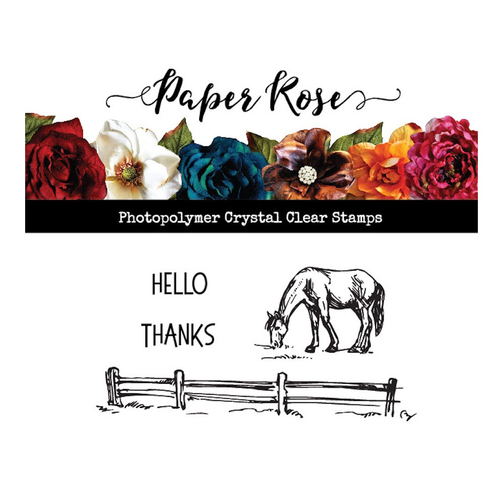 Paper Rose HORSE IN FIELD Clear Stamp 23518 zoom image