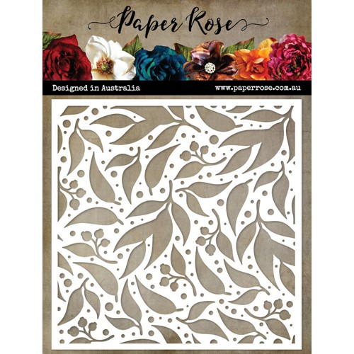 Paper Rose SPOTTED GUM LEAF 6x6 Stencil 22588 Preview Image