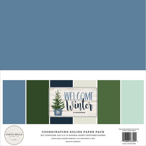 Carta Bella WELCOME WINTER 12 x 12 Solids Kit cbww142015 Preview Image