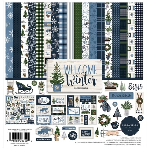 Carta Bella WELCOME WINTER 12 x 12 Collection Kit cbww142016 Preview Image