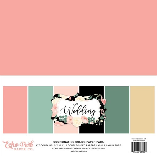 Echo Park WEDDING 12 x 12 Solids Paper Pack wed258015 Preview Image