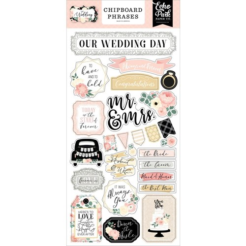 Echo Park WEDDING Chipboard Phrases wed258022 Preview Image