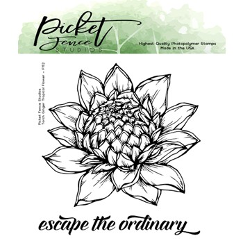 Picket Fence Studios TORCH GINGER TROPICAL FLOWER Clear Stamps f152