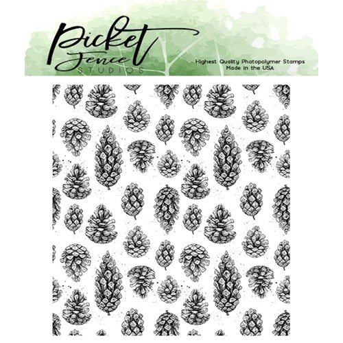Picket Fence Studios FALLING PINECONES Clear Stamp f156 Preview Image