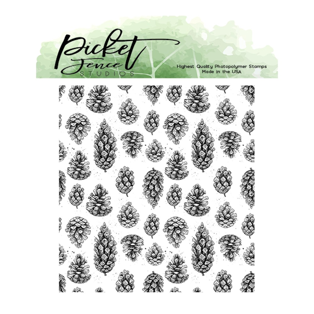 Picket Fence Studios FALLING PINECONES Clear Stamp f156 zoom image