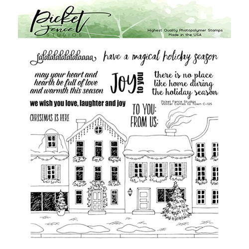 Picket Fence Studios WINTER HAS COME TO TOWN Clear Stamps c125 Preview Image