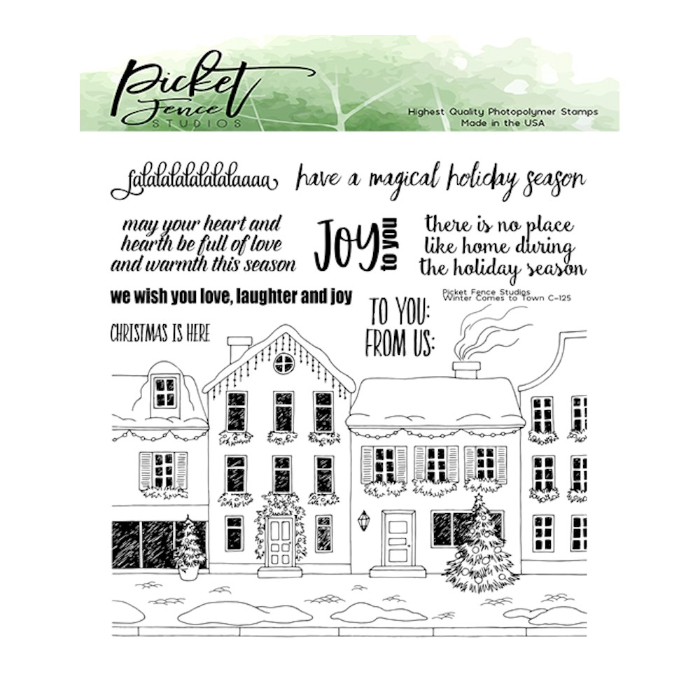 Picket Fence Studios WINTER HAS COME TO TOWN Clear Stamps c125 zoom image