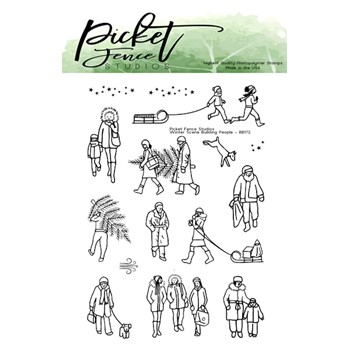 Picket Fence Studios WINTER SCENE BUILDING PEOPLE Clear Stamps bb173