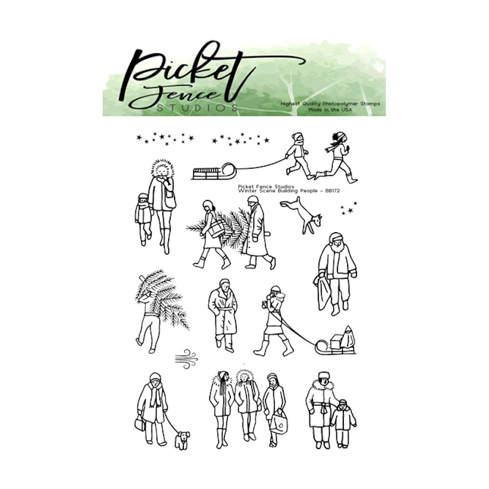 Picket Fence Studios WINTER SCENE BUILDING PEOPLE Clear Stamps bb173 zoom image