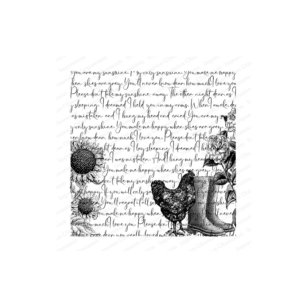 Impression Obsession Cling Stamp FALL GARDEN SCRIPT Create A Card CC421 zoom image