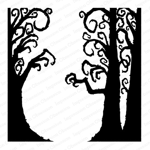 Impression Obsession Cling Stamp CREEPY TREES Create A Card CC420 Preview Image
