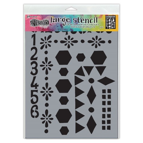 Dyan Reaveley Stencil 9 x 12 NUMBER FRAME Dylusions Ranger dys78036 Preview Image