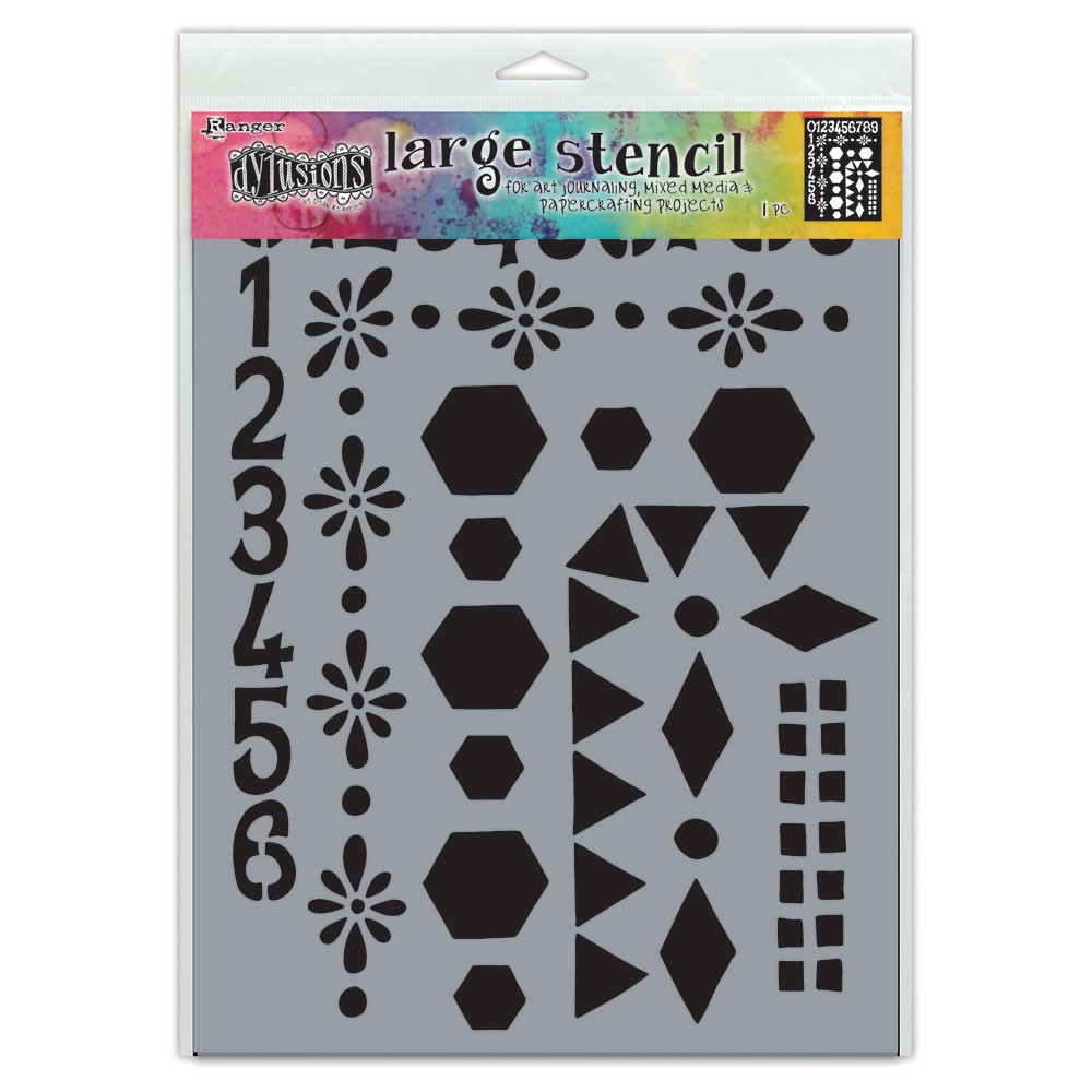 Dyan Reaveley Stencil 9 x 12 NUMBER FRAME Dylusions Ranger dys78036 zoom image