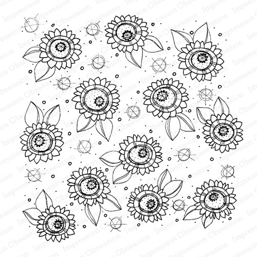 Impression Obsession Cling Stamp SUNFLOWERS Create A Card CC422 Preview Image