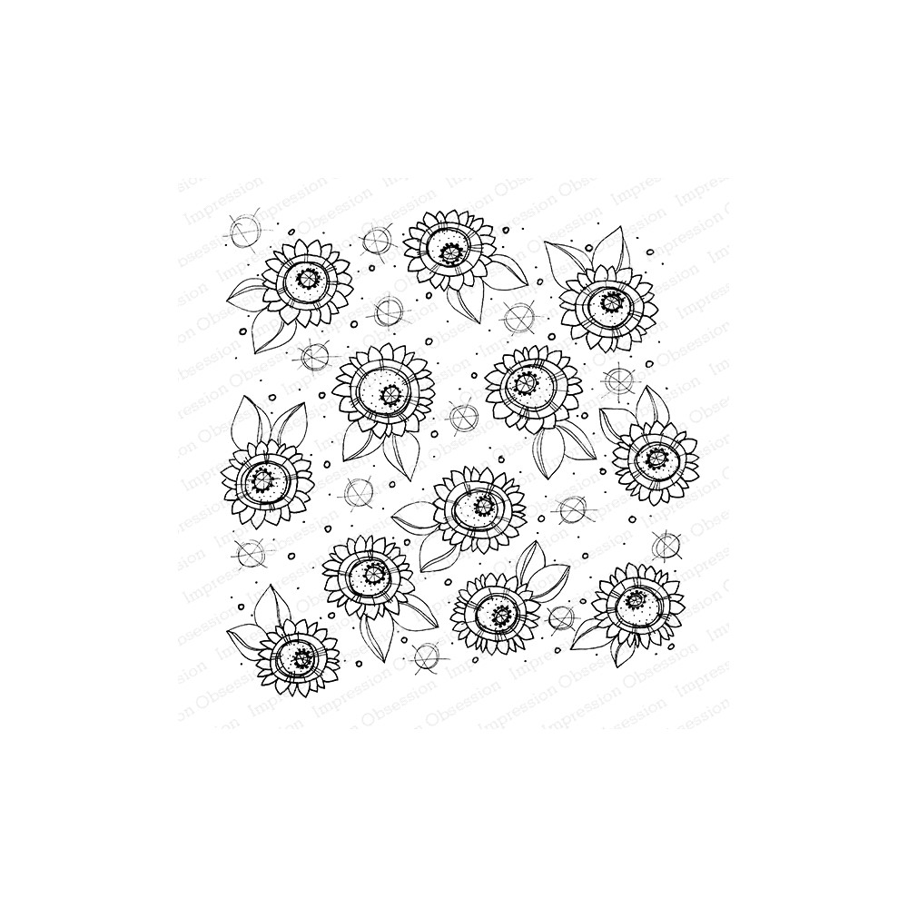 Impression Obsession Cling Stamp SUNFLOWERS Create A Card CC422 zoom image