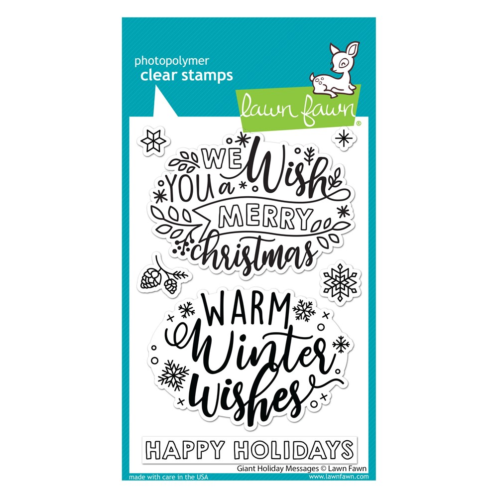 Lawn Fawn GIANT HOLIDAY MESSAGES Clear Stamps lf2680 zoom image