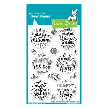 RESERVE Lawn Fawn MAGIC HOLIDAY MESSAGES Clear Stamps lf2676